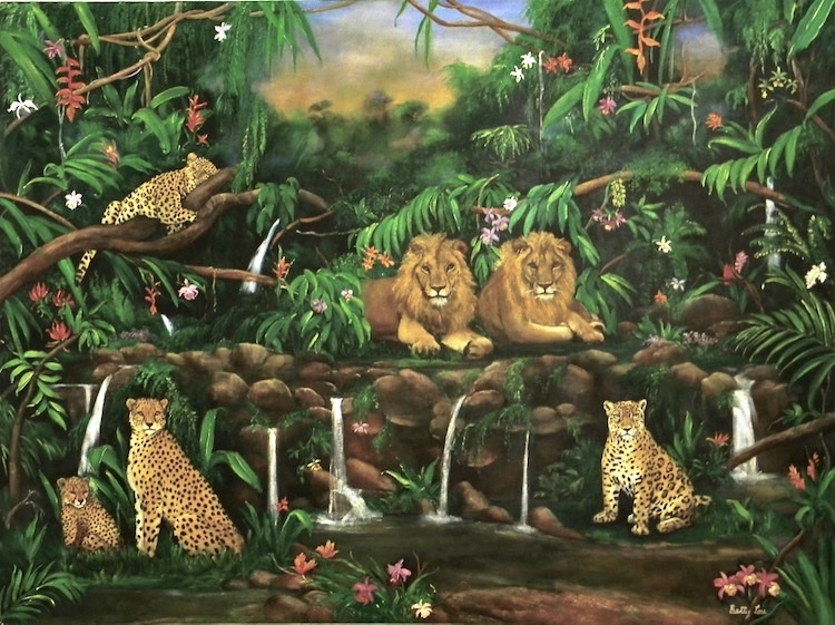 Wildlife painting, Jungle, Lions, cheetahs, leopards